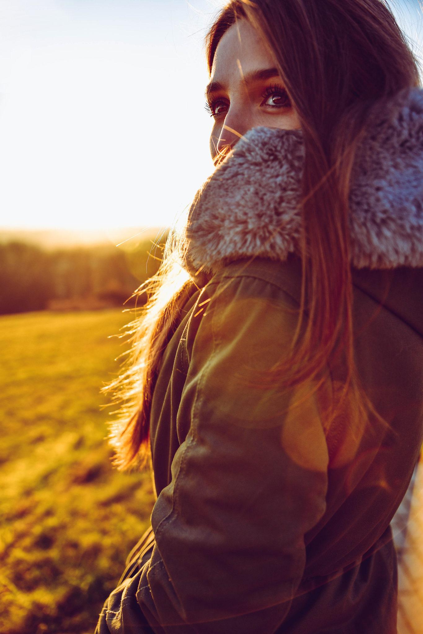Krásný zimní západ slunce